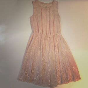 Maison Jules Blush Metallic Dot Dress