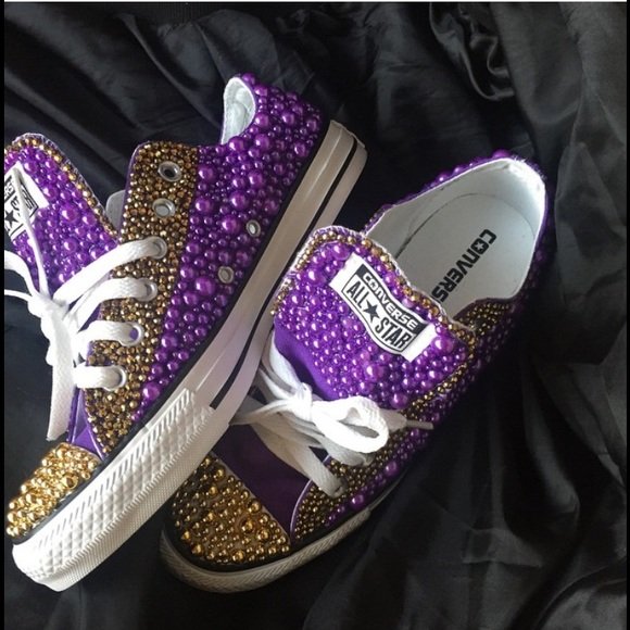 Purple and Gold Customized Chuck Taylor s bf3ddd9d6