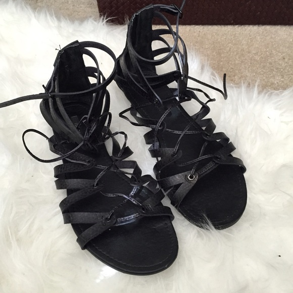 Forever 21 Shoes - Black lace up gladiator sandals forever 21 8888c48d96e5