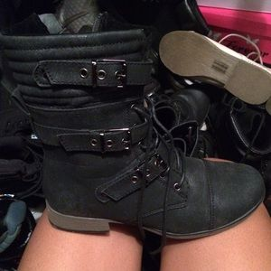 Traffic Boots - Charcoal Black Boots w/ straps, laces and a zipper
