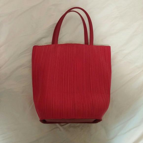Issey Miyake Handbags - Issey Miyake Pleats Please Red Pleated Tote Bag 1f8c3dd419443