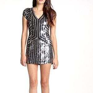 Parker Silver Silk Sequin Dress M