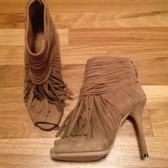 71% off Gucci Boots - Gucci Ackerman camel suede fringes open-toe ...