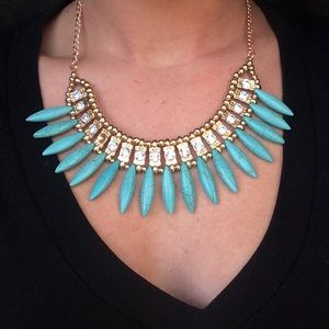 Jewelry - Turquoise statement necklace boho sparkle gold