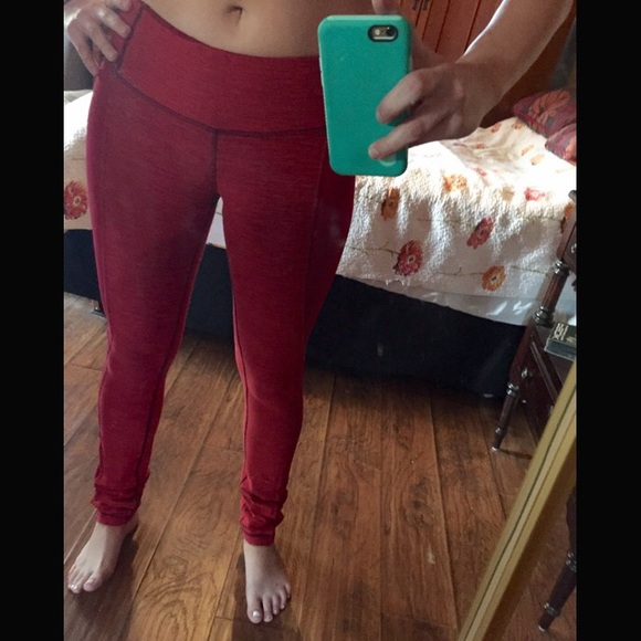 67% off lululemon athletica Pants - lululemon Red workout Leggings ...