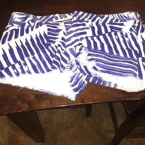Express shorts. Blue and white