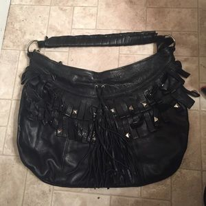 Carla Mancini black leather handbag