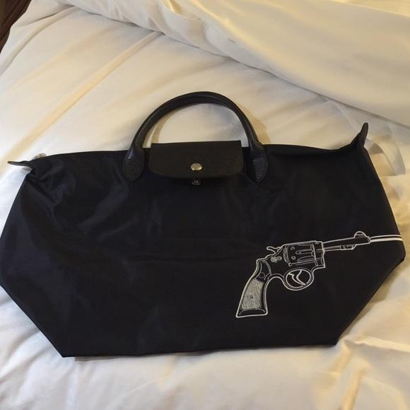 23fb67bd3260 Longchamp Bags   Limited Edition Embroidered 2015 Gun Bang Tote ...