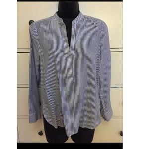 VINCE striped blue button up shirt size 4