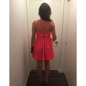 Guess neon pink dress with lace up back