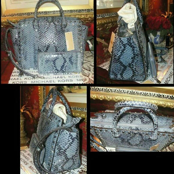 c14fe19518 MK Large Selma Jeweled Python Satchel w  Wallet. NWT. Michael Kors