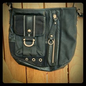 Black Junior Drake cross body handbag leather