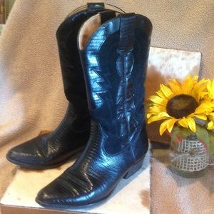 BALLY Black Leather and Suede Cowboy Boots