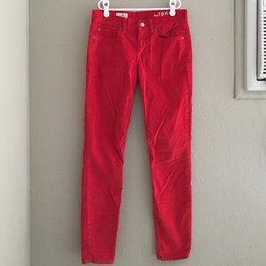 GAP Pants - Gap red corduroy skinny pants size 26 / 2 reg