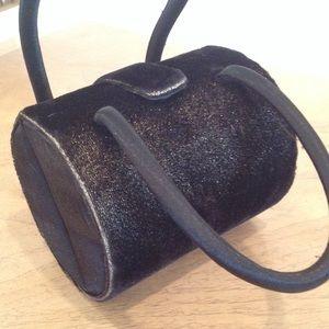 Black Velvet Barrel Bag