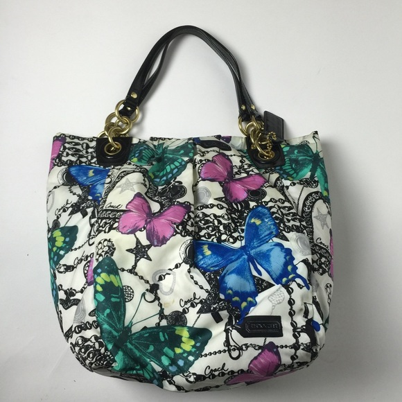 3c4b320fd1 Coach Handbags - Coach Parker Butterfly Print Tote