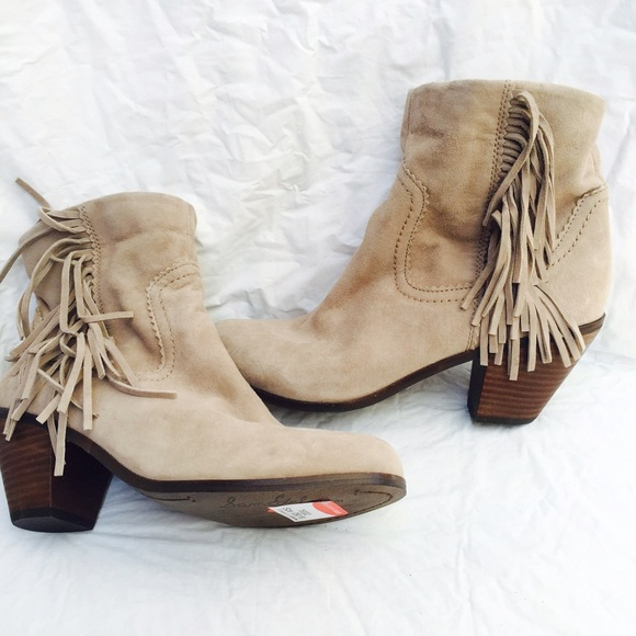 7797cb73f Sam Edelman fringe Louie tan suede boots Sz 8.5. M 5552670dd3a2a7617c001de1