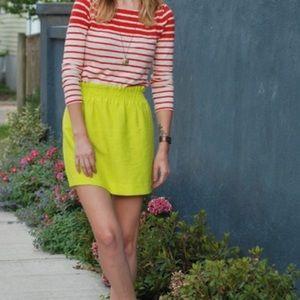 NWOT J. Crew City Mini Linen Skirt in Kiwi Size 6