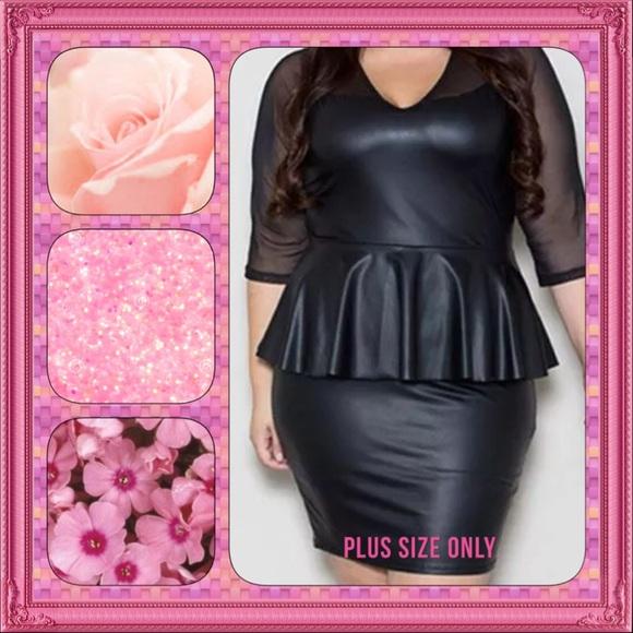 Seyemimi Dresses Nwt Plus Size Faux Leather Peplum Dress Sz 2x