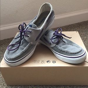 Sperry Top-sider Boat Shoes in Grey Corduroy