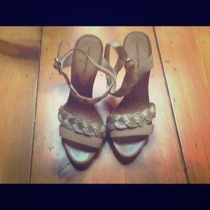Alexandre Birman Shoes - Alexandrie Birman Tan/Gold Braided Heels