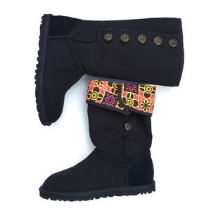 UGG Boots - Black button up fold over printed UGG boots