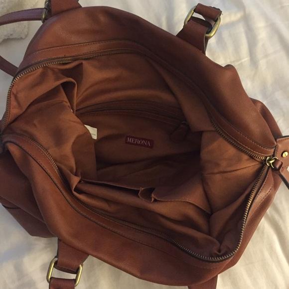 63% off Merona Handbags - Merona Brown Faux Leather Satchel Bag ...