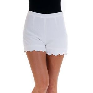 White Scallop Shorts-SMALL