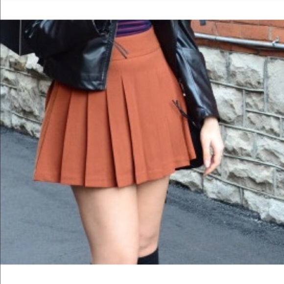 0f91758369 Forever 21 Skirts | Orange Pleated Skirt | Poshmark