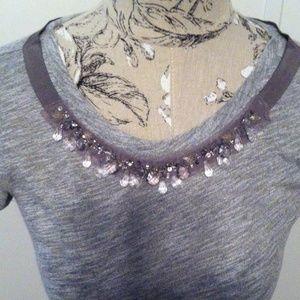 Loft Gray Crystal Embellished Ribbon Top XS