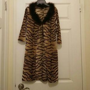 Tops - Animal print with fur cardigan
