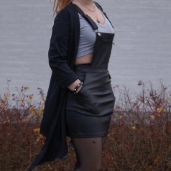 65ff469267 H&M Dresses   Hm Black Faux Leather Overalls   Poshmark