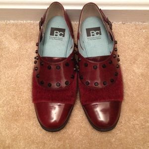 BC Burgundy Faux Calf Hair Studded Loafer Flats