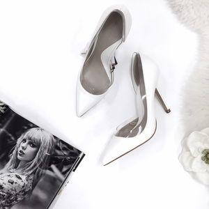 SOLD White Zara Vinyl Court Heels NWT