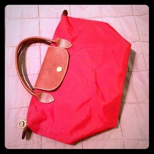 Longchamp Le Pilage small red tote