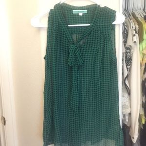 Pleione Tops - Chambray green and white patterned top with bow