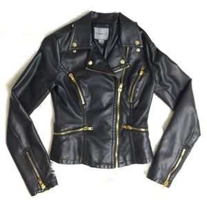 Forever 21 Jackets & Blazers - Black Faux Leather Motorcycle Jacket S Gold HW