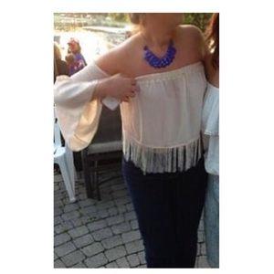 Tops - ✨off the shoulder fringe top ✨