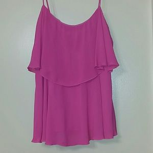 BCBGMAXAZRIA HOT PINK Baby doll strapy blouse