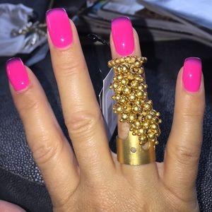 Paul Mendoza jerama gold plated finger ring!BNIB