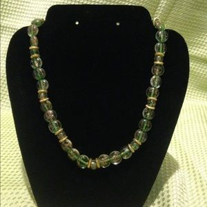 Green and gold glass necklace
