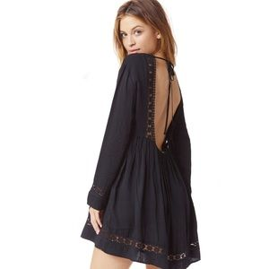 New Black Crochet Open Back Loose Dress Tunic❤️