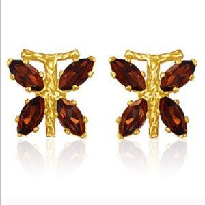 Jewelry - 10k gold 1ct garnet dragonfly earrings