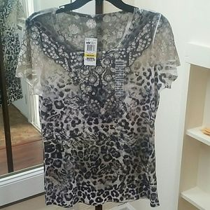 NWT Style & Co Print Top SS Sz Med