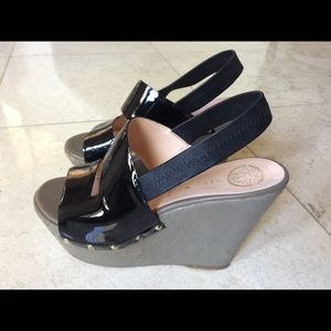 VERSACE Wedge Black patent leather shoes