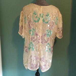 Vintage Tops - Vintage 80s Beaded Sequin Formal Top Plus sz 2X-3X