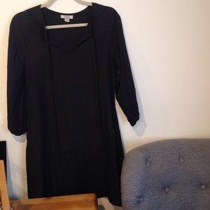 Black 3/4 sleeve Smock Dress
