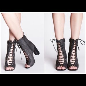 Jeffrey Campbell Merry Widow Peep Toe Lace Up Boot