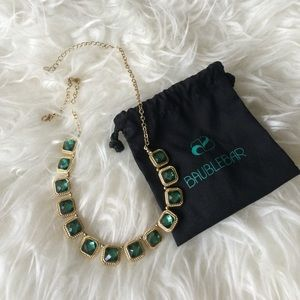 Baublebar Jewelry - Like new Bauble Bar gold necklace w/ green stones