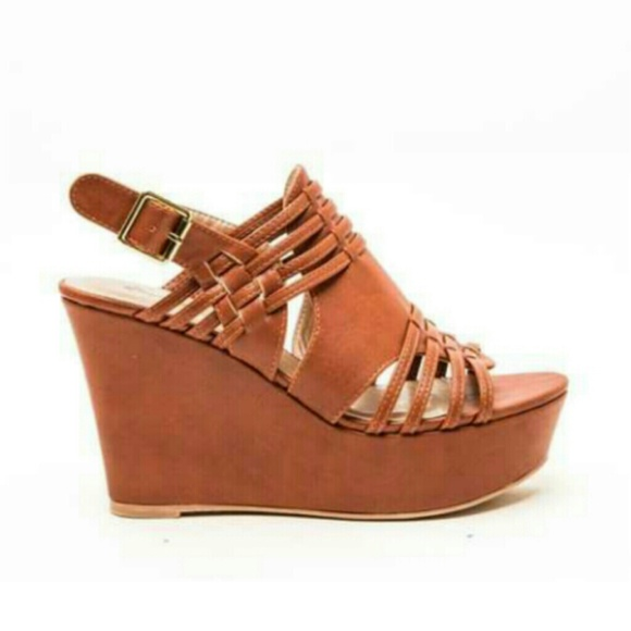 75 qupid shoes on sale qupid cognac wedges